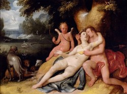 Venus And Adonis With Cupid In A Landscape