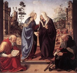 Piero di Cosimo The Visitation with Sts Nicholas and Anthony 1489 90