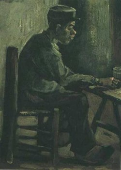 Peasant sitting at a table 1885 xx kroller muller museum otterlo