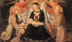GOZZOLI Benozzo Madonna and Child with Sts Francis and Bernardine and Fra Jacopo