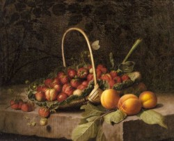 A Basket Of Strawberries And Peaches On A Stone Ledge