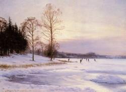 Hansen Sigvard Skaters On A Frozen Pond