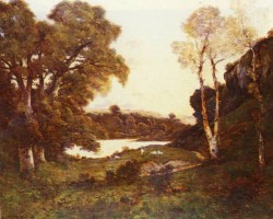French 1819 to 1916 Goats Grazing Beside A Lake At Sunset SnD 1899 O c 1238 by 1495cm