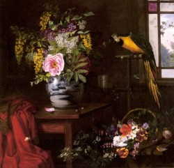 A Still Life With Vase Basket And Parrot
