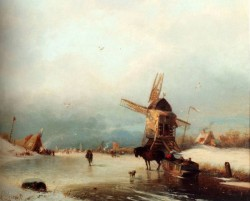 A Winter Landscape With A Horse drawn Sledge On A Frozen Rver By A Windmill