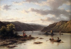 A Rhenish River Landscape With Fishermen In A Boat