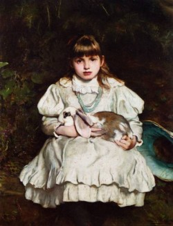 Portrait of a Young Girl Holding a Pet Rabbit 188