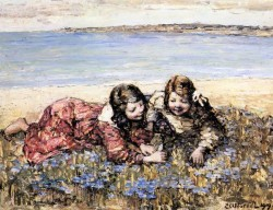 Atkinson Gathering Flowers By The Seashore