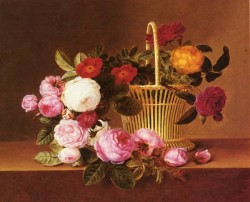 Danish 1800 to 1856 A Basket Of Roses On A Ledge SND 1825 O C 356 by 432 cm