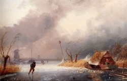 Leickert Charles A Winter Landscape With Skaters On A Frozen Waterway
