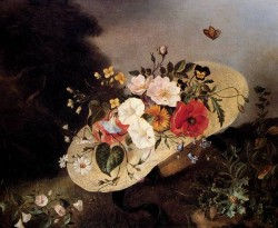 Guillaume Still Life With Assorted Flowers In A Hat