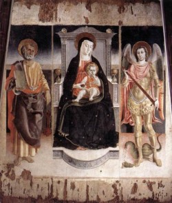 Madonna Enthroned With The Infant Christ St Peter And St Michael