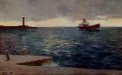 A Streamer At Trieste Lighthouse Dusk