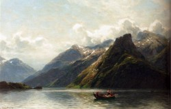 Oesterley Karl Augus Heinrich Summer Fishing On A Norwegian Fjord