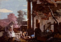 An Architectural Capriccio With Figures A Man Drinking From A Fountain