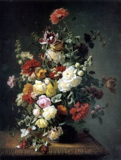 A Still Life WIth Flowers and Wild Raspberries