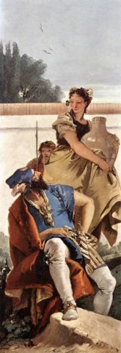 Tiepolo A Seated Man and a Girl with a Pitcher