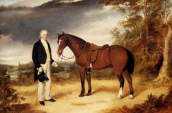 A Gentleman Holding A Chestnut Hunter In A Wooded Landscape