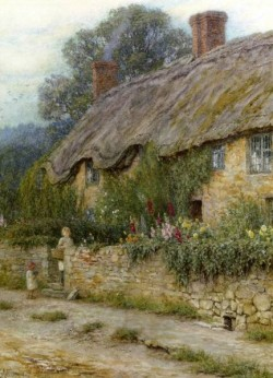 A Mother And Child Entering A Cottage