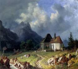 Das Kirchlein Von Hinterriss Im Hintergrund Das Wettersteingebirge