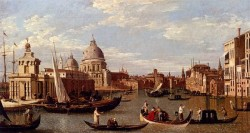 Canal Giovanni Antonio View Of The Grand Canal And Santa Maria Della Salute With Boats And Figures In The Foreground Venice