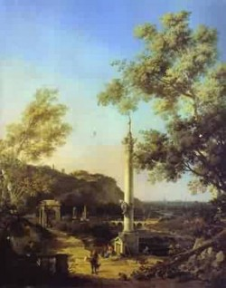 Capriccio river landscape with aolumn a ruined roman arch an
