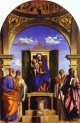 Madonna and child enthroned with st peter st romuald st bene