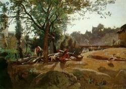 Corot Peasants under the Trees at Dawn Morvan