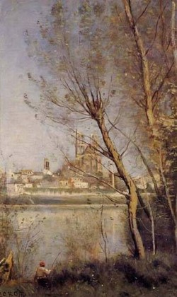Mantes the Cathedral and the City Seen throuth the Trees 1865 1869