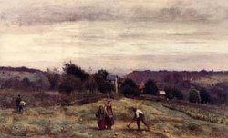 Ville dAvray the Heights Peasants Working in a Field 1865 1870