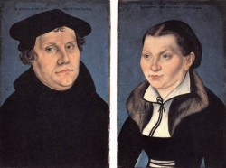 The elder diptych with the portraits of luther and his wife