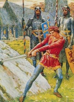 Arthur withdrawing excalibur from the stone