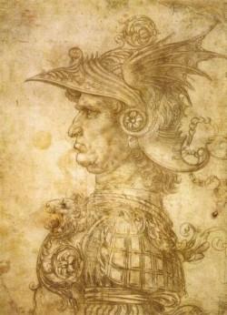 Leonardo da Vinci Profile of a warrior in helmet