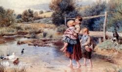 Children Paddling In A Stream