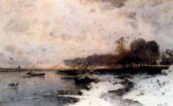 A Winter River Landscape At Sunset