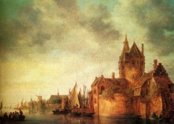 Josefsz Van A Castle By A River With Shipping At A Quay