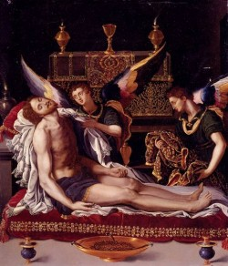 Dead Christ Attended By Two Angels