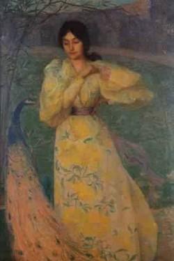 Youn girl with peacock 1895
