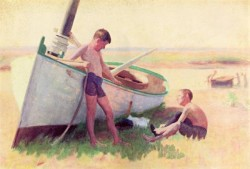 Two Boys by a Boat Near Cape May