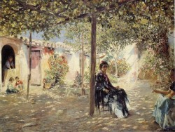 Gallegos y Arnosa Josef Ladies in a Sun dapples Courtyard