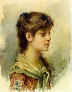 Harlamoff Alexej The Artist s Daughter watercolour