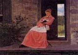 Girl Reading on a Stone Porch 1872