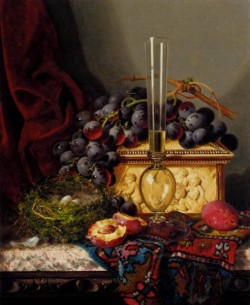 Still Life With Fruit Birds Nest Glass Vase And Casket
