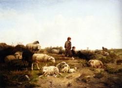 Cornelis Van Leemputten Shepherd Boys With Their Flock 1869