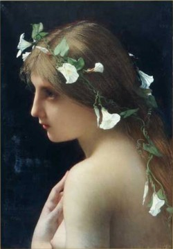 Nymph with morning glory flowers