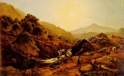 Figures On A Path By A Rocky Stream