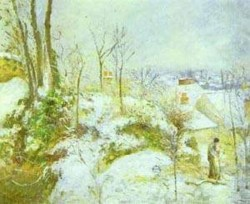 Cottage at pontoise in the snow 1879 xx chicago il usa