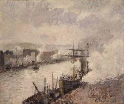Pissarro Steamboats in the Port of Rouen 1896