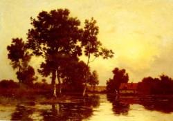 Paysage De Riviere Au Crepuscule