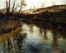 Frits Thaulow Elvelandskap River Landscape